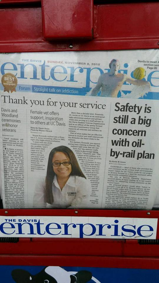 Megan Kennedy featured on cover of Davis Enterprise